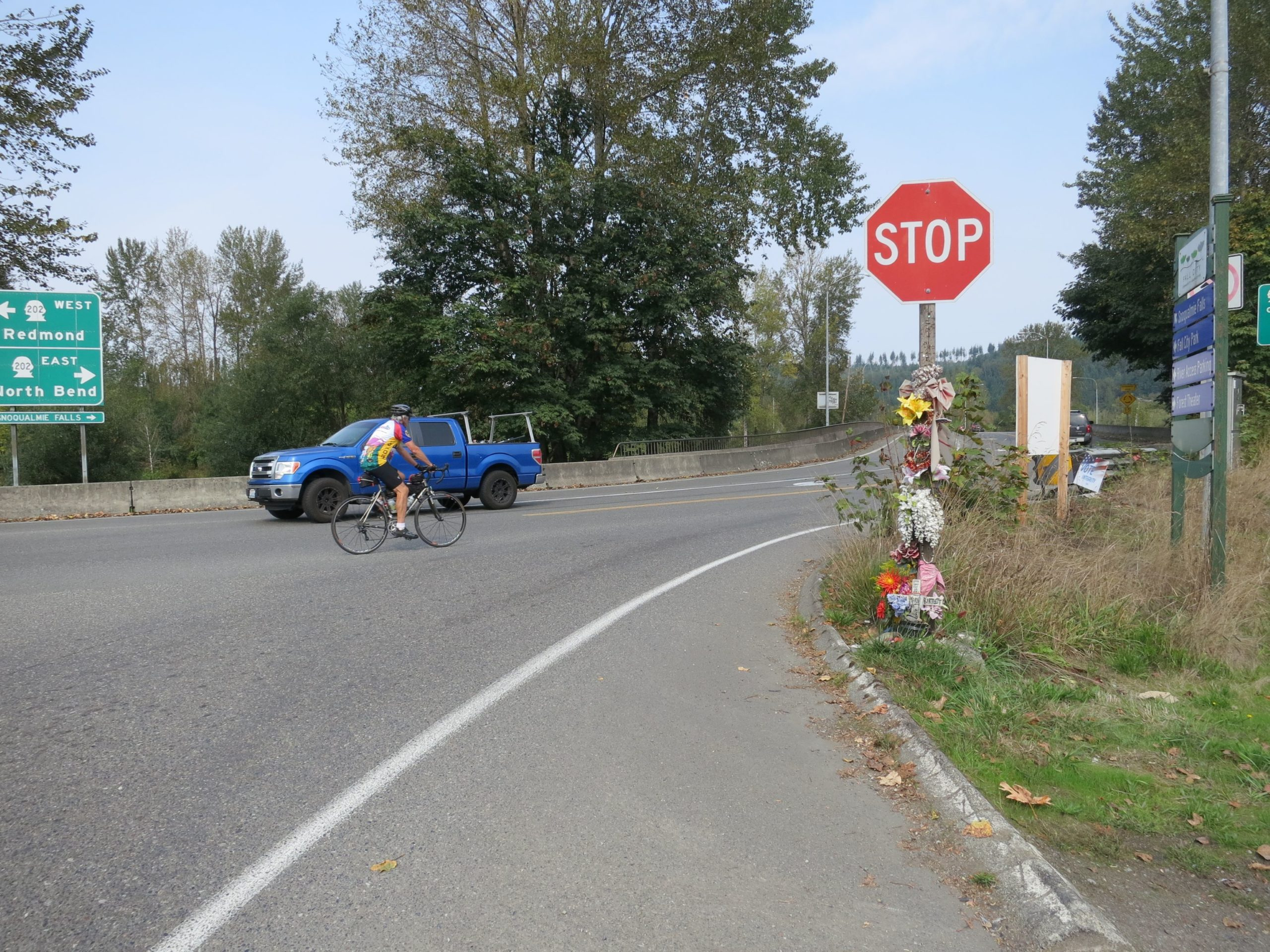 Image showing a bicyclist crossing the Snoqualmie River Bridge in Fall City.
