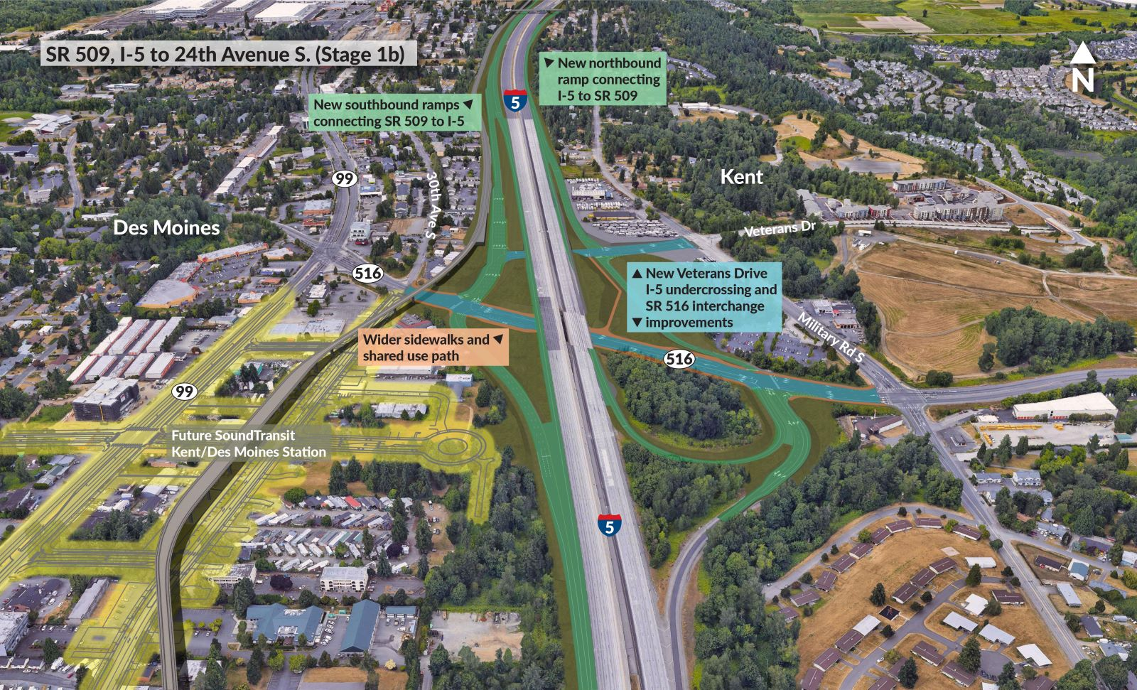 An aerial rendering of the future SR 516/I-5 interchange