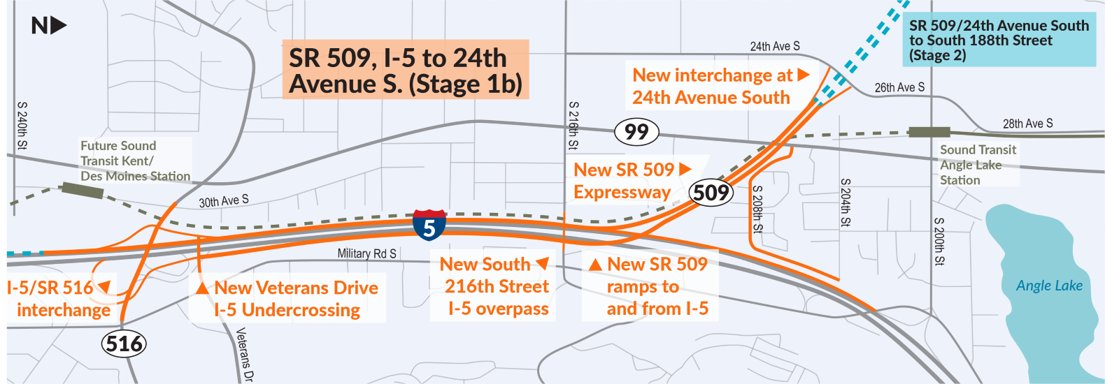 A map of the SR 509 expressway project