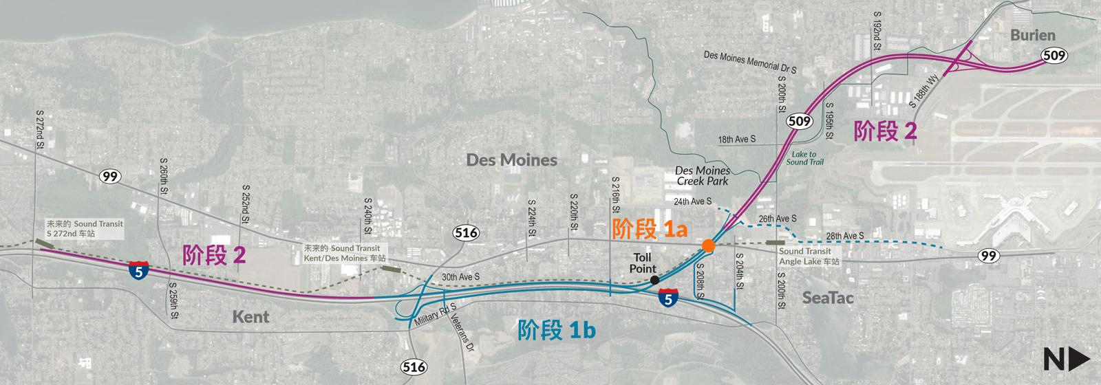 该项目将通过改进交叉道,建造可以连接I-5和SR 509,以及SR509高速公路首个英里的新匝道来改善该区域的交通。
