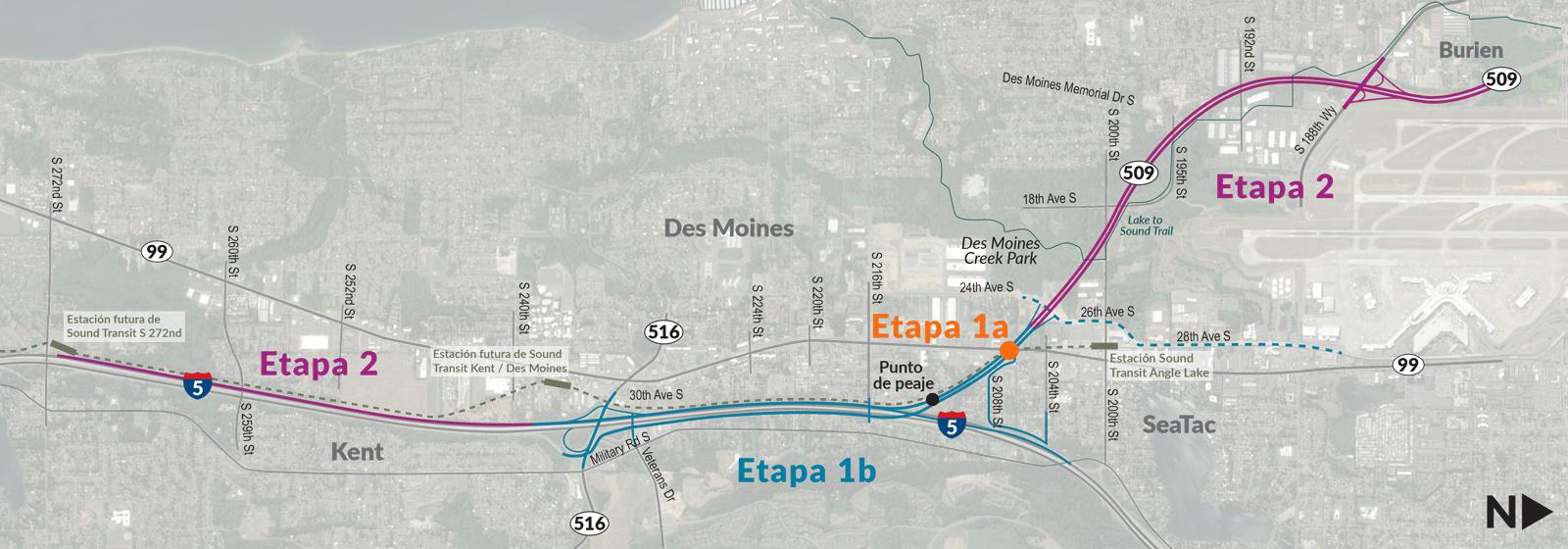 El proyecto mejorará el acceso a través del área con mejoras en el intercambio, nuevas rampas que conectan a la I-5 con la SR 509, y la primera milla de la vía Expressway en la SR 509