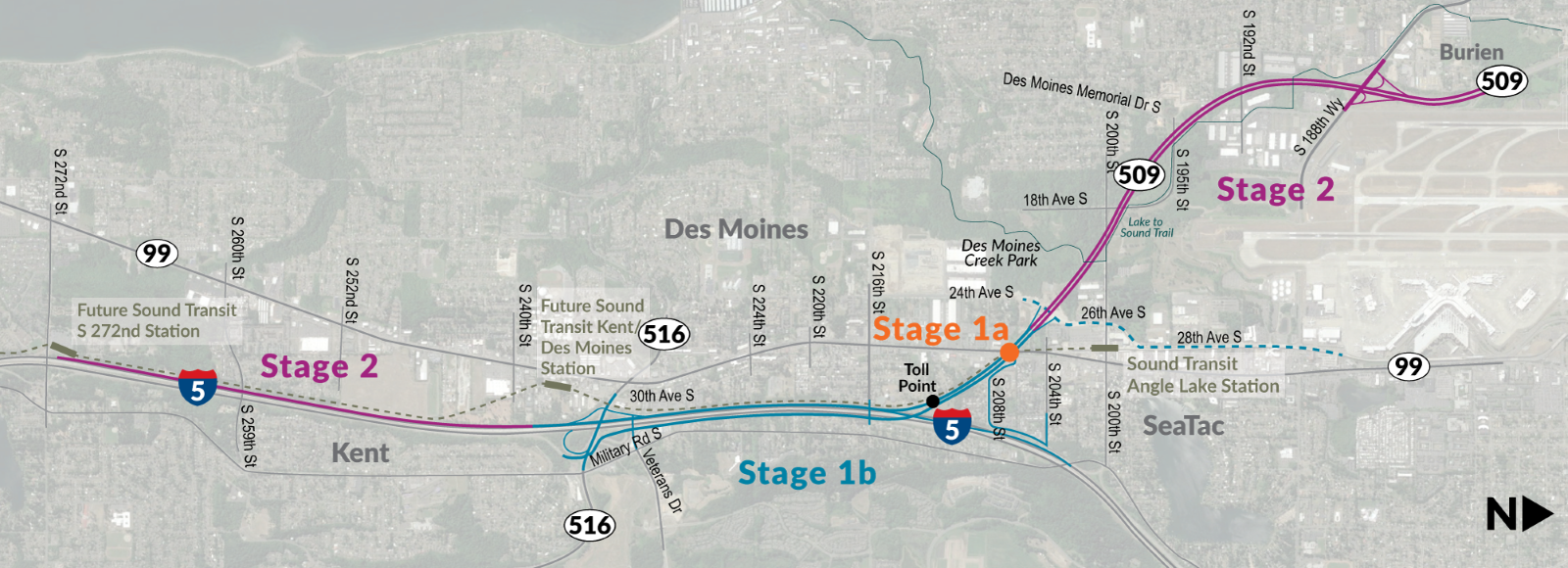 A map of the three stages of the SR 509 completion project