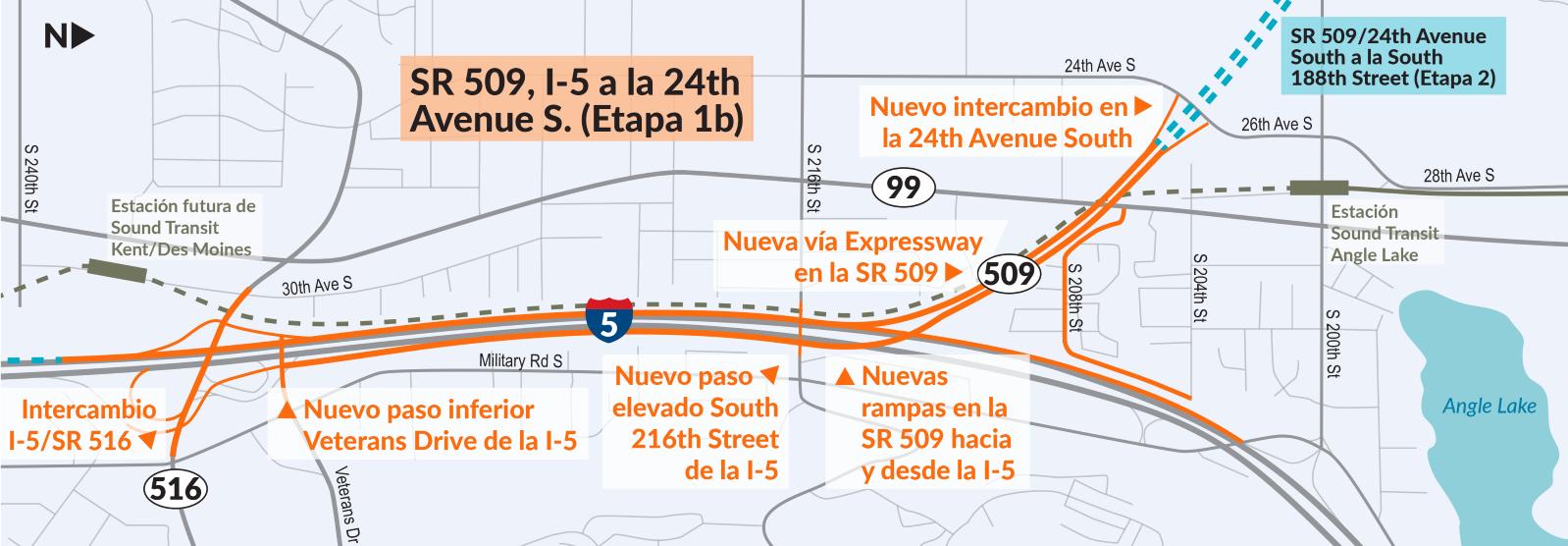 Proyecto de la Vía Expressway - SR 509, I-5 a la 24th Avenue S.