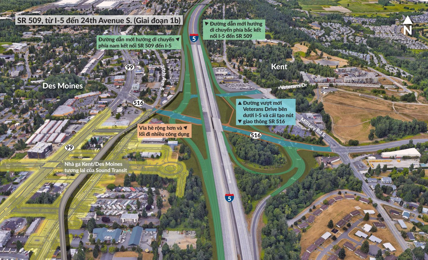 Nút giao thông SR 516 được tái thiết, cùng các đường dẫn mới sẽ cung cấp thêm kết nối giữa SR 509 và I-5