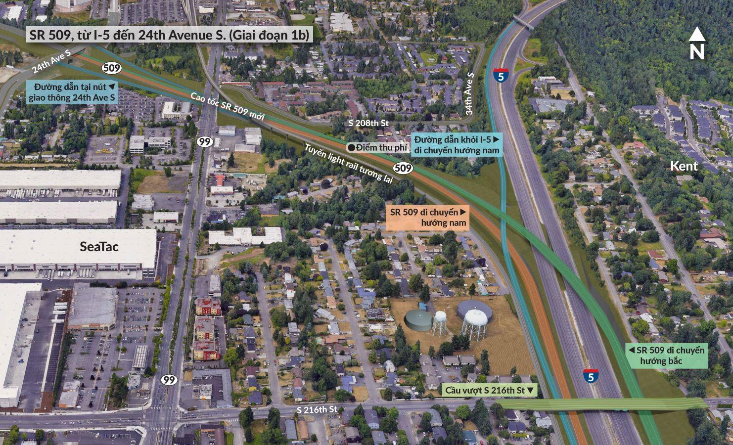 Cao tốc SR 509 và đường dẫn sẽ tạo kết nối mới đến nhiều trung tâm phân phối và kho hàng