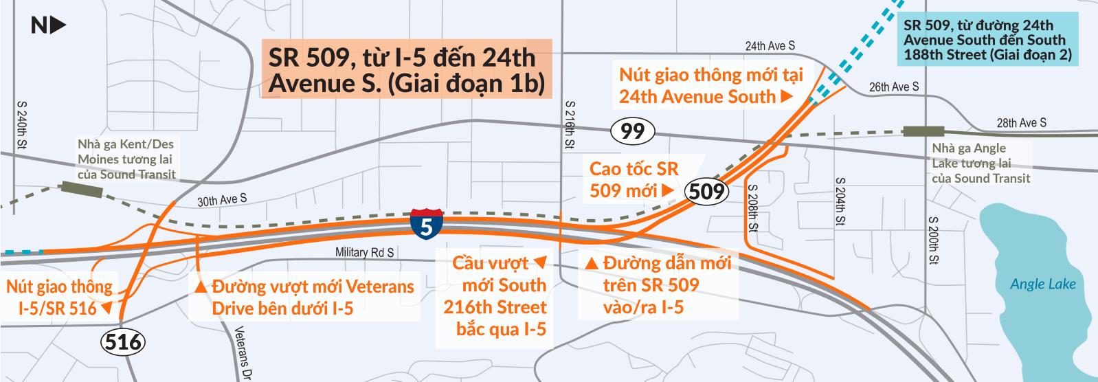 SR 509, từ I-5 đến 24th Avenue S. (Giai đoạn 1b)