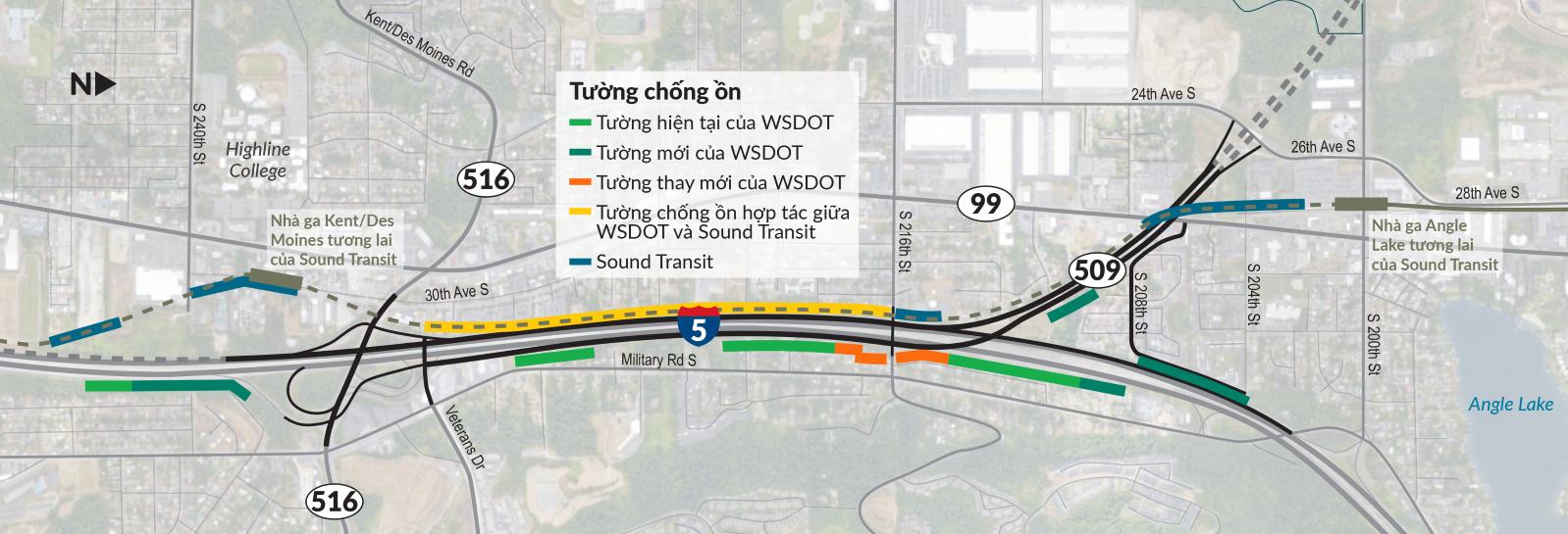 Dự án sẽ cải thiện việc tiếp cận tại khu vực bằng việc nâng cấp các nút giao thông, đường dẫn mới kết nối I-5 và SR 509, và dặm đầu của cao tốc SR 509