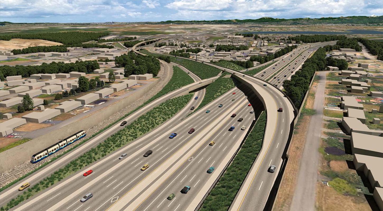 该效果显示图显示了SR 509的北向行驶匝道如何在上方通过I-5
