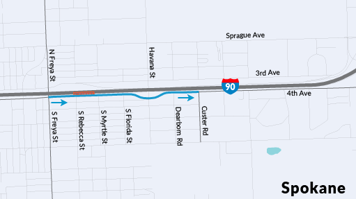 Map showing the proposed closure and alternate route for drivers to the Custer Rd. on-ramp to access eastbound I-90.