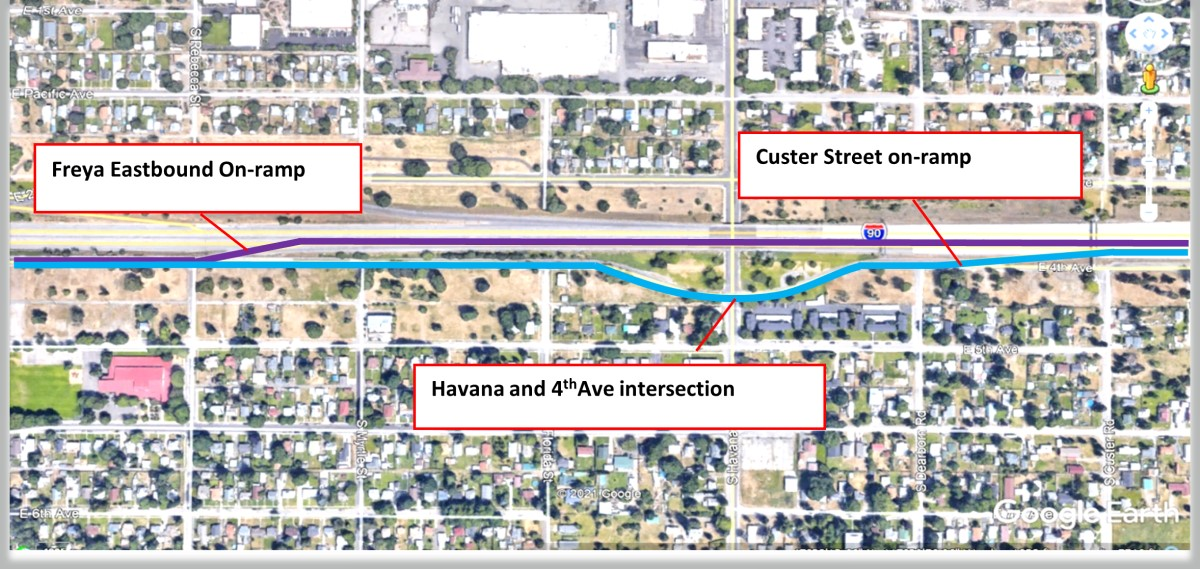 Proposed ramp closure re-route to the Custer EB on-ramp. (Purple represents traffic flow with Freya Street Eastbound on-ramp open. Blue represents proposed rerouting with Freya Street eastbound on-ramp closed to the Custer Street on-ramp.)