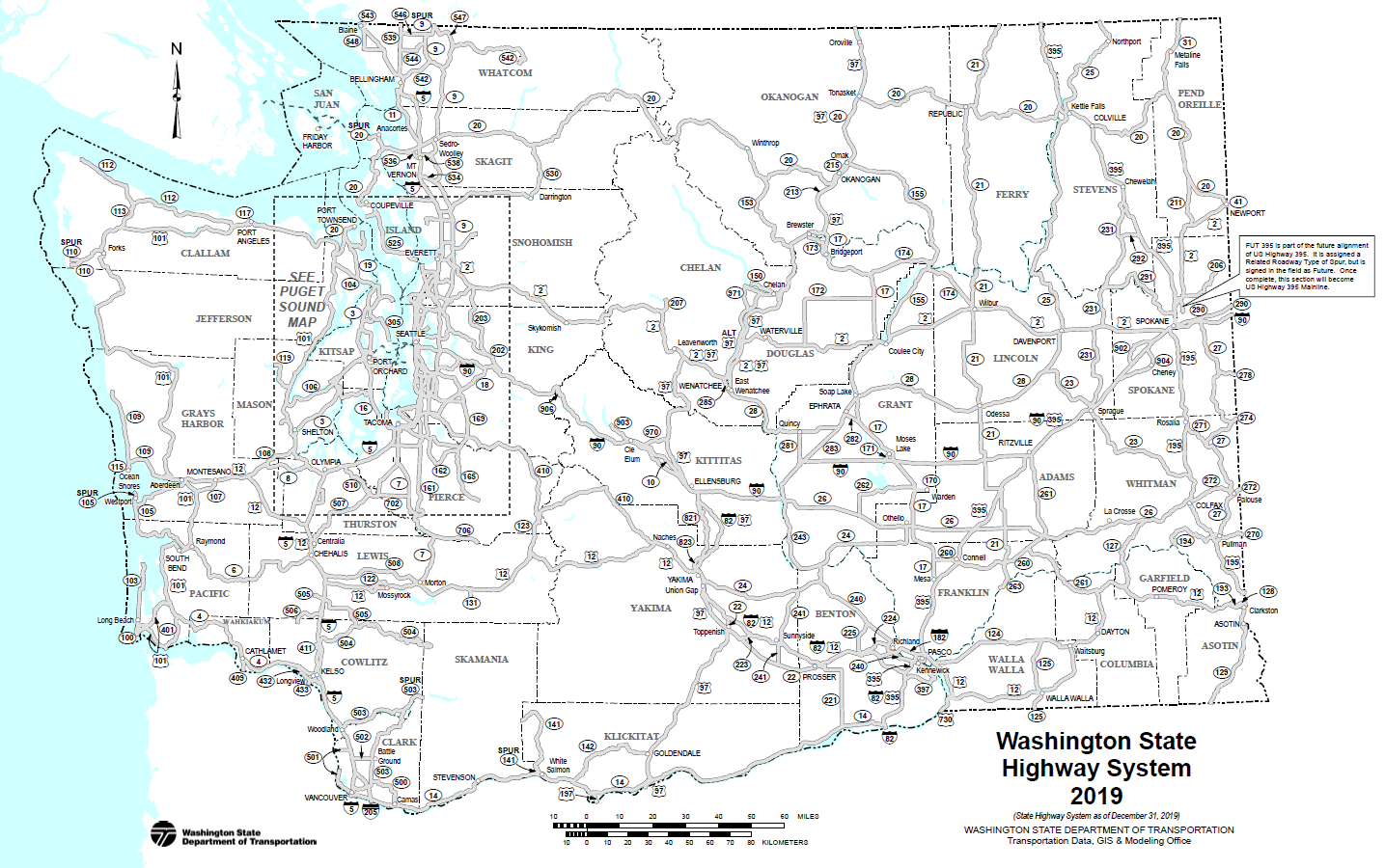 Map of Washington State Highway System as of December 31, 2019