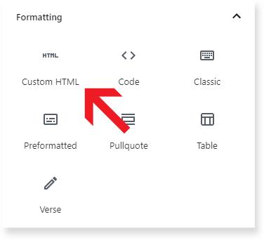 HTML under Formatting